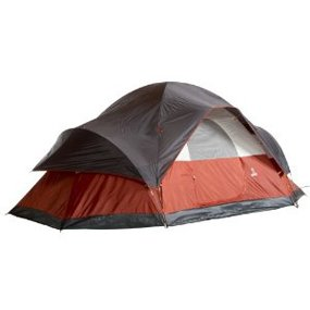 red, white and black tent